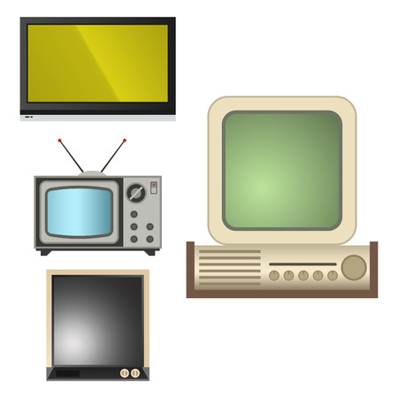 TV vector screen lcd monitor and notebook, tablet computer, retro templates. Electronic devices TV screens infographic. Technology digital device tv-screens, size diagonal display vector illustration Banco de Imagens - 103322569