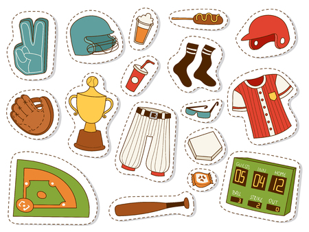 Baseball sport competition game team symbol softball play cartoon icons design sporting equipment vector illustration