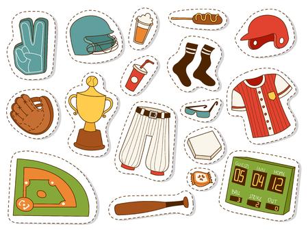 Baseball sport compétition jeu équipe symbole softball jouer dessin animé icônes conception équipement sportif illustration vectorielle