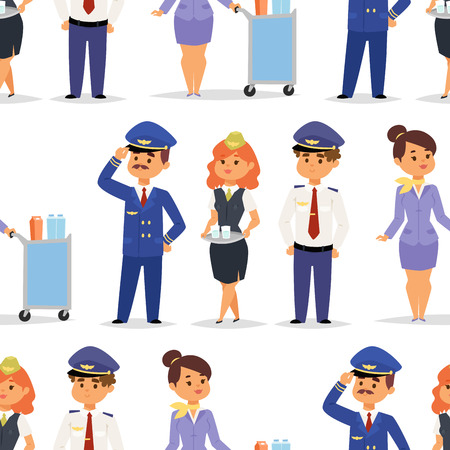Pilots and stewardess vector illustration airline character plane personnel staff air hostess flight attendants people command seamless pattern background.