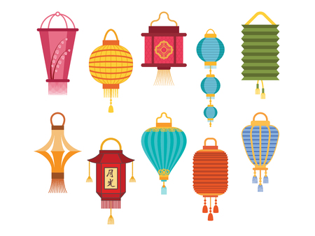 Chinese lantern light paper holiday celebrate asian graphic celebration lamp vector illustration. Stock Photo
