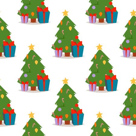 Christmas pine tree vector cartoon green winter needle leaf seamless pattern trunk fir plant xmas holiday background. Stock fotó