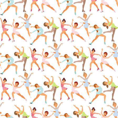 Figure ice skater women vector beauty sport girls doing exercise and tricks jump characters dancer people performance seamless pattern background illustration. Illustration