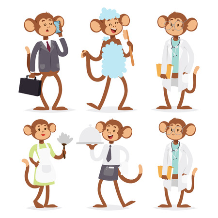 Monkeys rare animal vector cartoon macaque like people nature primate character wild zoo ape chimpanzee illustration. Фото со стока - 103322802