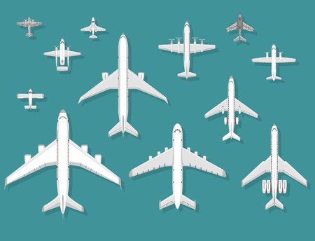 Airplane vector illustration top view plane and aircraft transportation travel way design journey object. Banco de Imagens