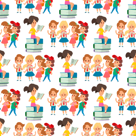 Children studying school kids going study together childhood happy primary education character vector seamless pattern background. Illustration