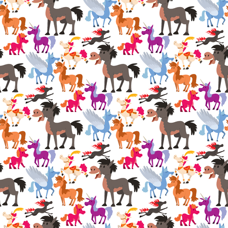 Horse pony stallion vector breeds color farm equestrian mammal domestic animal mane zoo character illustration seamless pattern background.