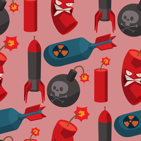 Bomb dynamite fuse vector seamless pattern background illustration grenade attack power ball burning detonation explosion fire military destruction design aggression.