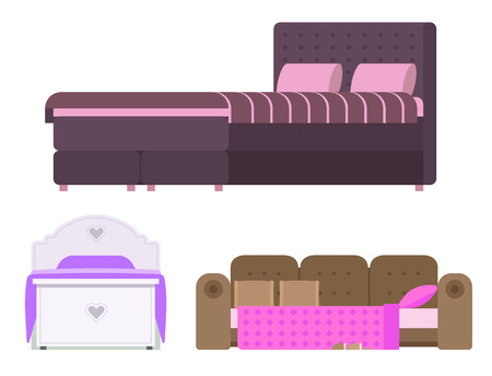 Sleeping furniture vector design bedroom exclusive bed interior room comfortable home relaxation apartment decor illustration night bedding sleep hammock.