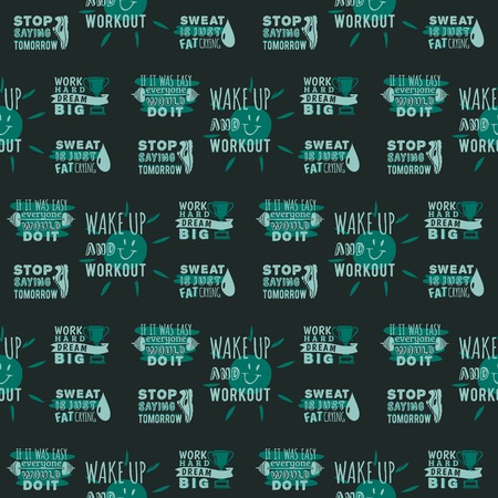 Sport motivational logo vector seamless pattern background hand drawn element banner gym crossfit trainings motivation text lettering illustration. Ilustração