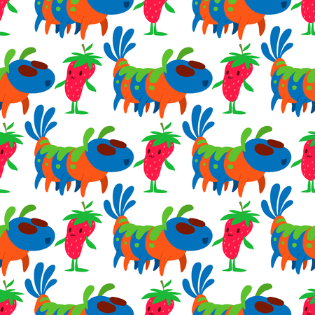 Monster character vector funny design humour emoticon fantasy monsters unique expression crazy animals seamless pattern background illustration.