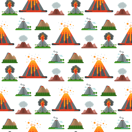 Volcano magma vector nature blowing up with smoke crater volcanic mountain hot natural eruption earthquake seamless pattern background illustration. Banco de Imagens