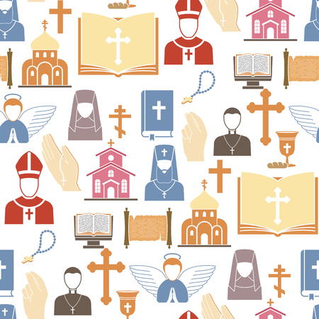 Christianity religion vector pastor religionism flat illustration holy silhouette praying religionary christian faith religionist priest church traditional culture seamless pattern background.