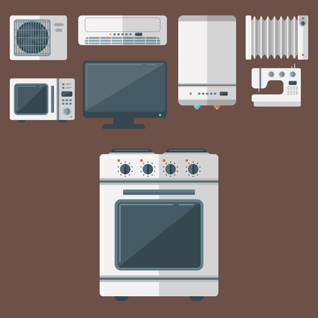Home appliances vector domestic household equipment kitchen electrical domestic technology for homework tools seamless pattern background illustration