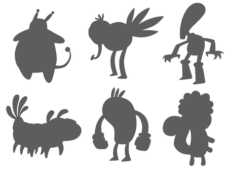 Monster character vector silhouette funny design element humour emoticon fantasy monsters unique expression crazy animals sticker illustration.