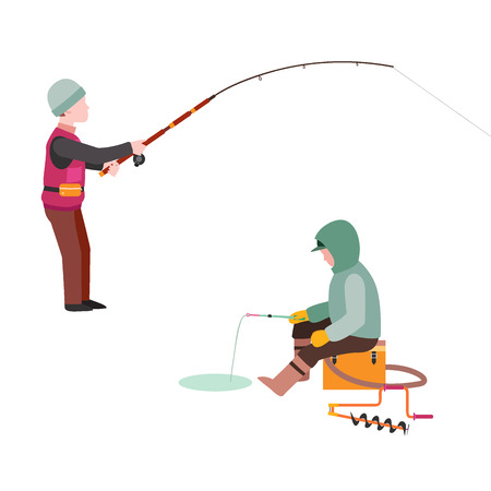Fishing fishermen vector catches fish fisher threw rod into water catch and spin, man pulls net out of the river character vector illustration