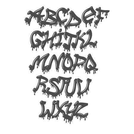 Graffity alphabet vector hand drawn grunge font paint symbol design ink style texture typeset 스톡 콘텐츠