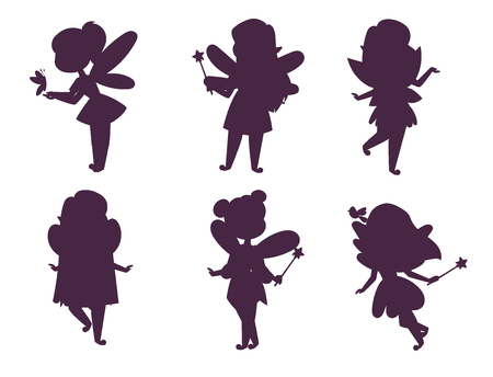 Fairies princess silhouette fairy girl vector character cute beautiful style cartoon little fairyland fashion costume magic fantasy dress fairytale crown kid. Happy sweet fairy teenage with wings.