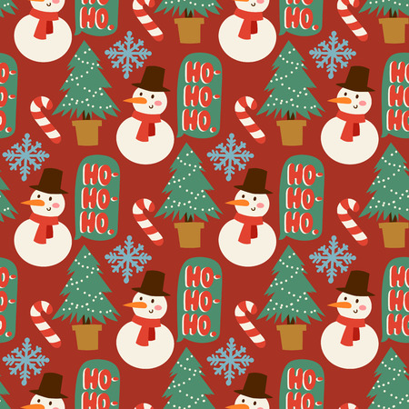 Christmas pine tree vector cartoon green winter needle leaf seamless pattern trunk fir plant xmas holiday background. Natural design jungle branch decoration textile flora forest christmas tree. Stock Illustratie
