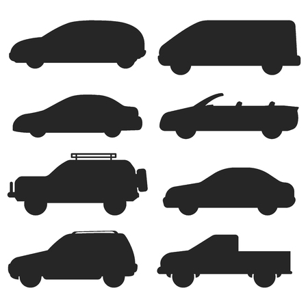 Car auto vehicle transport silhouette type design travel race model technology style and generic automobile contemporary kid toy flat vector illustration. Иллюстрация