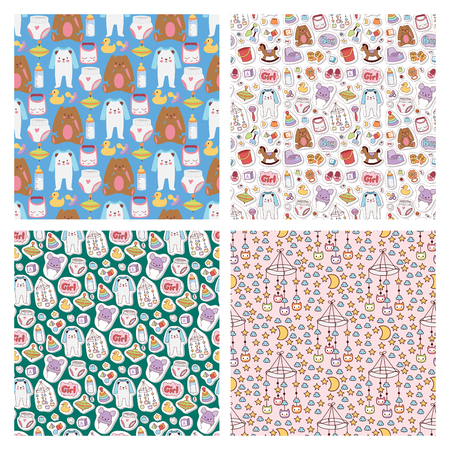 Baby toys icons cartoon family kid toyshop design cute boy and girl childhood art diaper love rattle seamless pattern background vector illustration.