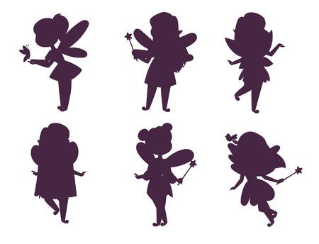 Fairies princess silhouette fairy girl vector character cute beautiful style cartoon little fairyland fashion costume magic fantasy dress fairytale crown kid. Happy sweet fairy teenage with wings.