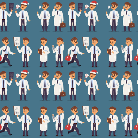 Doctor nurse character vector medical man staff seamless pattern background flat design hospital team people doctorate illustration. Foto de archivo - 104728581