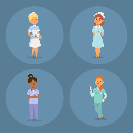 Doctor nurse character vector medical woman staff flat design hospital team people doctorate illustration Flat style different doctor character. Professional cartoon medical human worker. Zdjęcie Seryjne