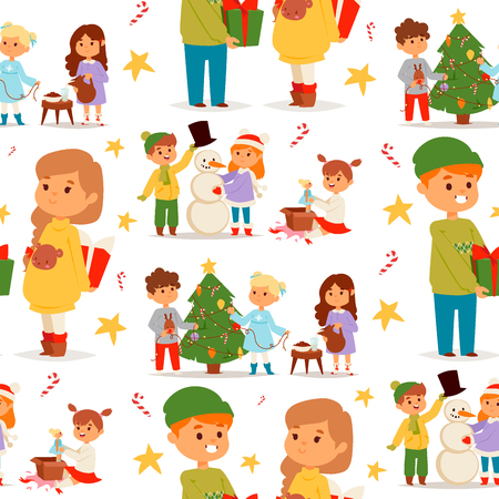 Christmas kids vector character playing winter games winter children holidays christmas tree cartoon new year xmas kid seamless pattern background. Cute little people waiting christmas illustration.