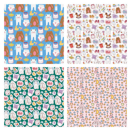 Baby toys icons cartoon family kid toyshop design cute boy and girl childhood art diaper drawing graphic love rattle fun seamless pattern background vector illustration.