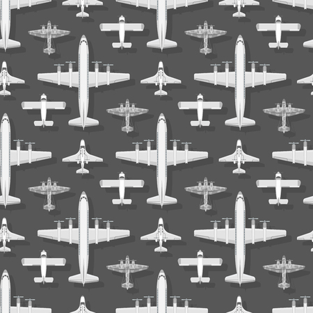 Airplane seamless pattern background vector illustration plane top view passenger trip and aircraft transportation travel way to vacation sky design journey international plane.