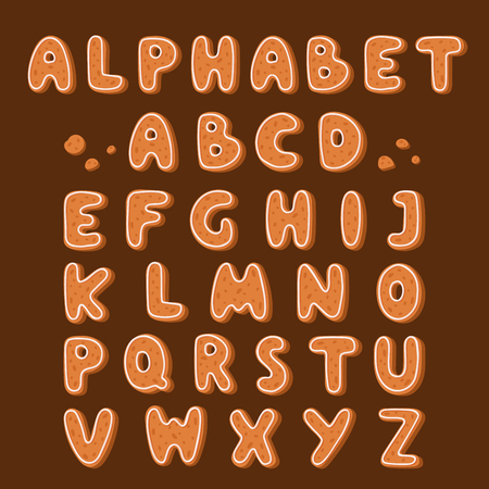 Gingerbread cookies alphabet holidays ginger cookie font text food biscuit xmas letter vector illustration. Merry Christmas and Happy New Year figures cover by icing-sugar Ilustração