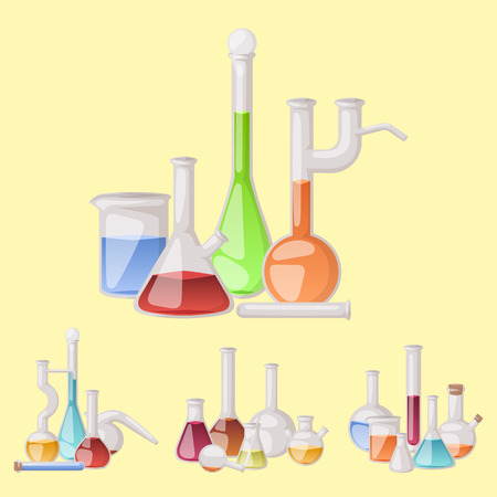 Chemical flask laboratory vector lab glassware tube liquid biotechnology analysis tubes medical scientific equipment. Chemistry experiment research test science glass lab flask. Archivio Fotografico - 114941554