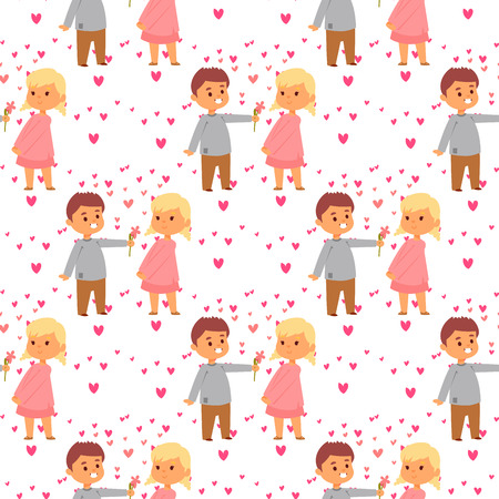 Couple in love vector characters togetherness happy smiling people romantic woman amorousness together adult relationship seamless pattern background.