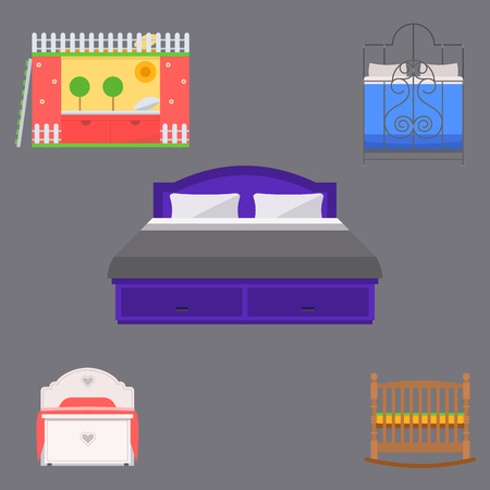 Sleeping furniture vector design bedroom exclusive bed and interior room comfortable home relaxation apartment decor illustration. Luxury night bedding sleep hammock.