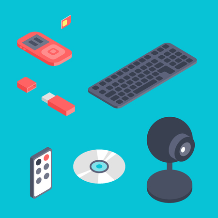 Isometric vector gadget computer devices icons wireless technologies mobile communication 3d illustration. Digital electronic technology isomerical tools technology. Stock Photo