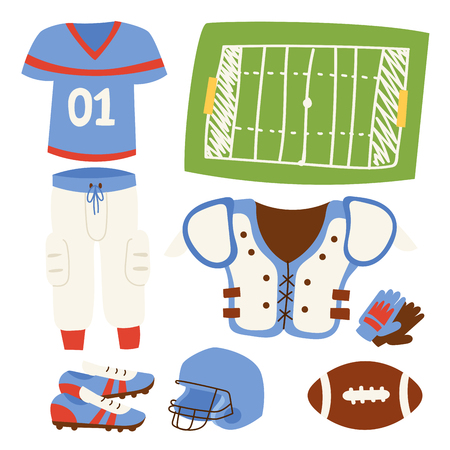 American football player action sport athlete uniform accessory success playing tools vector illustration. Winning professional competition sports equipment. Stock Photo