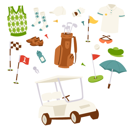 Golf icons hobby car equipment cart player golfing sport symbol flag hole game. Vector sign patch set bag hobby golfer car equipment. Stock Photo - 104884011