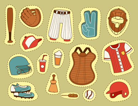 Baseball sport competition game team symbol softball play cartoon icons design sporting equipment vector illustration. American professional league tools.