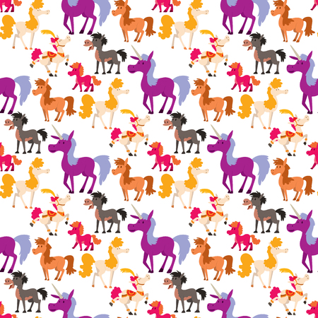 Horse pony stallion vector breeds color farm equestrian mammal domestic animal mane zoo character illustration. Cartoon pet design horseback mare many horse pony style seamless pattern background.