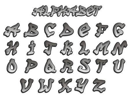 Graffity alphabet vector hand drawn grunge font paint symbol design set. Detailed vector alphabet graffiti grunge font text brush graphic ink style texture typeset dirty art artistic. Illustration