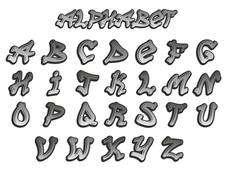 Graffity alphabet vector hand drawn grunge font paint symbol design ink style texture typeset 版權商用圖片