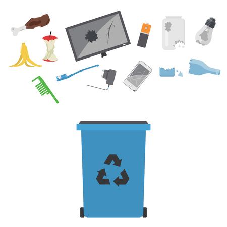Recycling garbage vector trash bags tires management ecology industry garbage utilize concept waste sorting illustration.