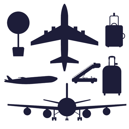 Aviation icons vector silhouette airline graphic airplane airport transportation fly travel symbol illustration. Air transport boarding cargo departure. Stock Vector - 114877265