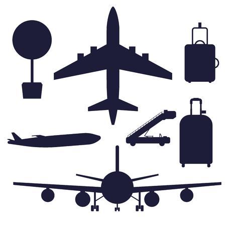 Aviation icons vector silhouette airline graphic airplane airport transportation fly travel symbol illustration. Air transport boarding cargo departure. Ilustração