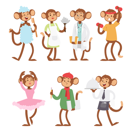 Monkeys rare animal vector cartoon macaque like people nature primate character wild zoo ape chimpanzee illustration. Фото со стока - 104963634