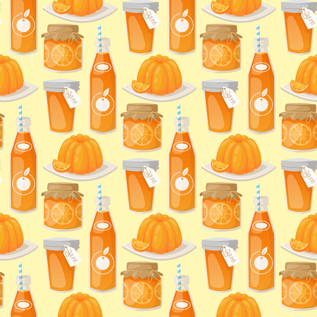 Oranges and orange products vector illustration. Fresh natural citrus fruit vector seamless pattern background. Juicy tropical dessert beauty breakfast Organic juice healthy oranges food. Ilustração