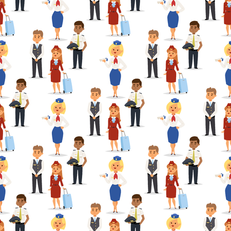Pilots and stewardess vector airline character plane personnel staff air hostess flight attendants people command. Flight attendants captain seamless pattern background pilots and stewardess. Ilustrace