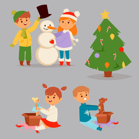 Christmas kids vector character playing winter games winter children holidays christmas tree cartoon new year xmas kid. Cute little people waiting christmas illustration. Illustration