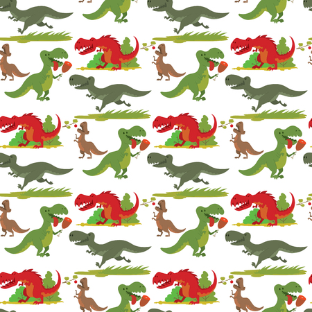 Dinosaurs vector dino animal tyrannosaurus t-rex danger creature force wild jurassic predator prehistoric extinct illustration. Angry powerful large dinosaurs vector model seamless pattern background.